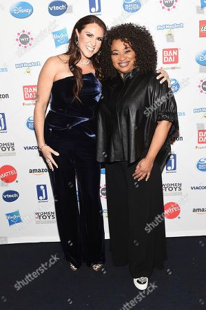 Stephanie McMahon, Pam Lifford. WIT Wonder Women Honorees Stephanie McMahon, Chief Brand Officer, WWE, left, and Pam Lifford President, Warner Bros., Global Brands and Experiences pose at the 16th annual Wonder Women Awards,, coinciding with Toy Fair New York