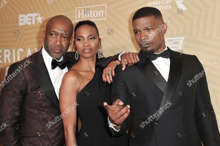 Jeff Friday, Nicole Friday, Jamie Foxx. Jeff Friday, from left, Nicole Friday and Jamie Foxx attend the American Black Film Festival Honors Awards at the Beverly Hilton Hotel, in Beverly Hills, Calif