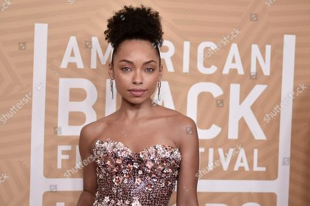 Stock Image of Logan Browning attends the American Black Film Festival Honors Awards at the Beverly Hilton Hotel, in Beverly Hills, Calif