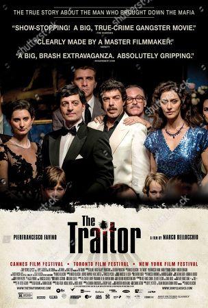 Stock Image of The Traitor (2019) Poster Art. Pierfrancesco Favino as Tommaso Buscetta, Fabrizio Ferracane as Pippo Calo and Maria Fernanda Candido as Maria Cristina de Almeida Guimaraes