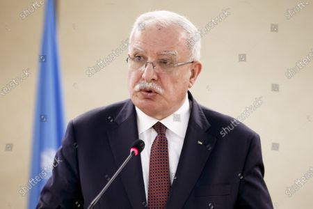 Stock Image of Riad Al-Malki, Foreign Affairs Minister of the Palestinian National Authority, delivers his statement during the High-Level Segment of the 43rd session of the Human Rights Council, at the European headquarters of the United Nations (UNOG) in Geneva, Switzerland, 24 February 2020.