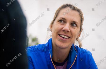 Stock Photo of Olga Savchuk, coach of Karolina Pliskova, talks to the media at the 2020 Qatar Total Open WTA Premier 5 tennis tournament