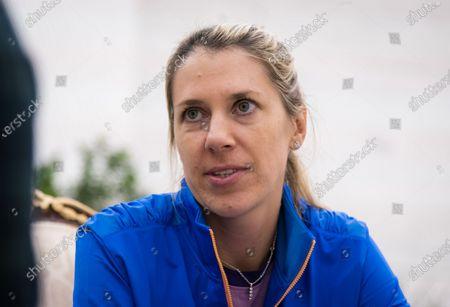 Stock Picture of Olga Savchuk, coach of Karolina Pliskova, talks to the media at the 2020 Qatar Total Open WTA Premier 5 tennis tournament