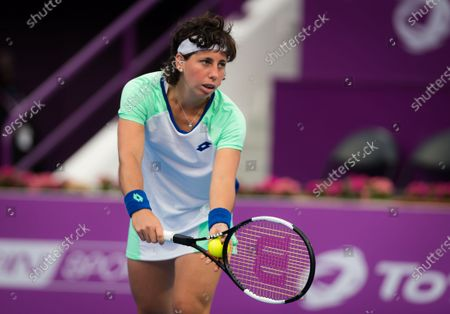 Stock Image of Carla Suarez Navarro of Spain in action during her second-round match at the 2020 Qatar Total Open WTA Premier 5 tennis tournament