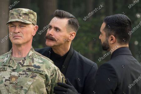 Neal McDonough as Major Bennington, Jim Carrey as Dr. Ivo Robotnik and Lee Majdoub as Agent Stone