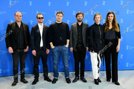 Stock Picture of Belgian Producer Jean-Yves Roubin, German producer Jonas Dornbach, German actor Misel Maticevic, Albanian writer and director Visar Morina, German actress Sandra Hueller and German producer Janine Jackowski pose during the 'Exil' photocall during the 70th annual Berlin International Film Festival (Berlinale), in Berlin, Germany, 24 February 2020. The movie is presented in the Panorama section at the Berlinale that runs from 20 February to 01 March 2020.