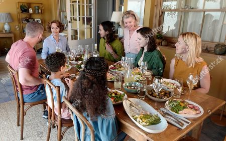 Stock Image of Mia Lloyd as Maddie, Ayden Beale as Aaron, Russell Tovey as Jake, Francesca Annis as Vivien, Lydia Leonard as Natalie, Imelda Staunton as Mary, Grace Hogg-Robinson as Lily and Claudie Blakley as Helen.
