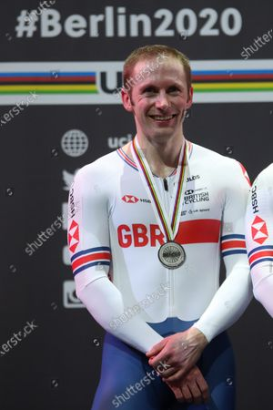 Jason Kenny of Great Britain with a silver medal for the Men's team pursuit