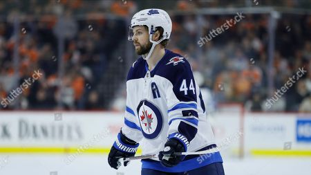 Stock Photo of Winnipeg Jets' Josh Morrissey plays during an NHL hockey game against the Philadelphia Flyers, in Philadelphia