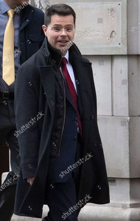 Minister of State for Security James Brokenshire MP leaving Milbank Studio in London following an interview.