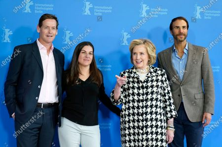 Stock Photo of Hillary Rodham Clinton (2-R) and US director Nanette Burstein (2-L) pose with producers Ben Silverman (R) and Howard T. Owens (L) during the 'Hillary' photocall during the 70th annual Berlin International Film Festival (Berlinale), in Berlin, Germany, 25 February 2020. The movie is presented in the Berlinale Special section at the Berlinale that runs from 20 February to 01 March 2020.