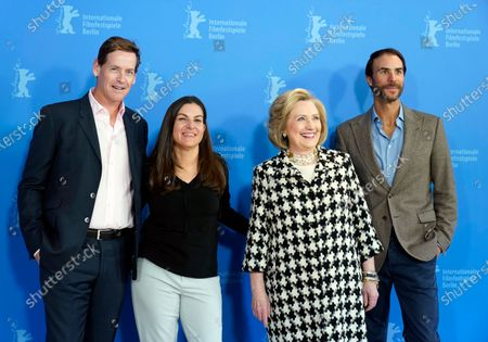 Hillary Rodham Clinton (2-R) and US director Nanette Burstein (2-L) pose with producers Ben Silverman (R) and Howard T. Owens (L) during the 'Hillary' photocall during the 70th annual Berlin International Film Festival (Berlinale), in Berlin, Germany, 25 February 2020. The movie is presented in the Berlinale Special section at the Berlinale that runs from 20 February to 01 March 2020.