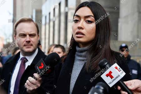 Stock Photo of Ambra Battilana speaks to reporters outside of a Manhattan courthouse after Harvey Weinstein was convicted in his rape trial, in New York. A jury convicted Weinstein of rape and sexual assault. The jury found him not guilty of the most serious charge, predatory sexual assault, which could have resulted in a life sentence