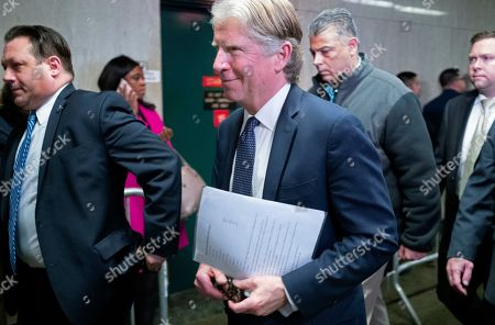 Manhattan District Attorney Cyrus Vance Jr., exits the courtroom after a verdict in the Harvey Weinstein rape trial, in New York. Vance spoke outside the courtroom shortly after a jury convicted Weinstein of rape and sexual assault. The jury found him not guilty of the most serious charge, predatory sexual assault, which could have resulted in a life sentence
