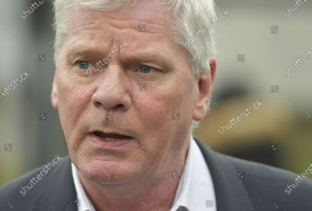 Kristinn Hrafnsson, editor-in-chief of WikiLeaks, speaks to media at Woolwich Crown Court in London, Britain, 24 February 2020. Assange is facing extradition to the US on 18 charges and faces up to 175 years in prison if found guilty.