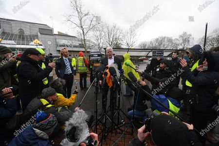 Kristinn Hrafnsson (C), editor-in-chief of WikiLeaks, speaks to media at Woolwich Crown Court in London, Britain, 24 February 2020. Assange is facing extradition to the US on 18 charges and faces up to 175 years in prison if found guilty.