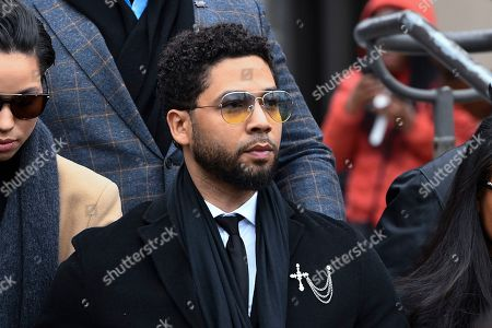 """Former """"Empire"""" actor Jussie Smollett leaves the Leighton Criminal Courthouse in Chicago, after an initial court appearance on a new set of charges alleging that he lied to police about being targeted in a racist and homophobic attack in downtown Chicago early last year"""