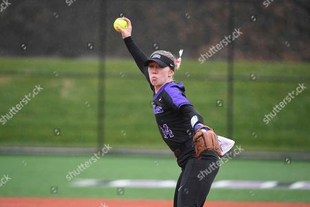 Central Arkansas pitcher Jordan Johnson throws a pitch against Morehead State during an NCAA softball game, in Conway, Ark