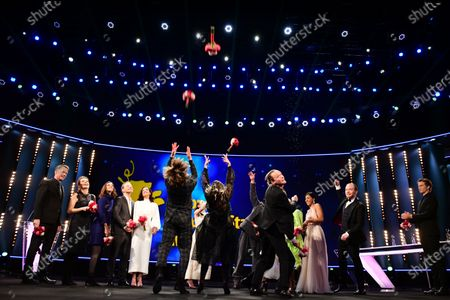 Actors and actresses of the European Shooting Stars 2020, Ella Rumpf, Bilal Wahib, Victoria Carmen Sonne, Levan Gelbakhiani, Paaru Oja, Bartosz Bielenia, Joana Ribeiro, Jonas Dassler, Zita Hanrot, Martina Apostolova celebrate on stage during the European Shooting Stars 2020 presentation and the premiere of 'Schwesterlein' (My Little Sister) during the 70th annual Berlin International Film Festival (Berlinale), in Berlin, Germany, 24 February 2020. The movie is presented in the Official Competition at the Berlinale that runs from 20 February to 01 March 2020.