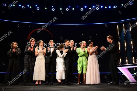 Alexander Fehling (R) greets actors and actresses of the European Shooting Stars 2020, Ella Rumpf, Bilal Wahib, Victoria Carmen Sonne, Levan Gelbakhiani, Paaru Oja, Bartosz Bielenia, Joana Ribeiro, Jonas Dassler, Zita Hanrot, Martina Apostolova on stage during the European Shooting Stars 2020 presentation and the premiere of 'Schwesterlein' (My Little Sister) during the 70th annual Berlin International Film Festival (Berlinale), in Berlin, Germany, 24 February 2020. The movie is presented in the Official Competition at the Berlinale that runs from 20 February to 01 March 2020.