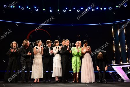 Stock Image of Alexander Fehling (R) greets actors and actresses of the European Shooting Stars 2020, Ella Rumpf, Bilal Wahib, Victoria Carmen Sonne, Levan Gelbakhiani, Paaru Oja, Bartosz Bielenia, Joana Ribeiro, Jonas Dassler, Zita Hanrot, Martina Apostolova on stage during the European Shooting Stars 2020 presentation and the premiere of 'Schwesterlein' (My Little Sister) during the 70th annual Berlin International Film Festival (Berlinale), in Berlin, Germany, 24 February 2020. The movie is presented in the Official Competition at the Berlinale that runs from 20 February to 01 March 2020.