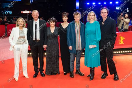Stephanie Chuat (3-L), Marthe Keller (L), Nina Hoss (2-R), Veronique Reymond (C), Lars Eidinger (R) and guests arrive for the premiere of 'Schwesterlein' (My Little Sister) during the 70th annual Berlin International Film Festival (Berlinale), in Berlin, Germany, 24 February 2020. The movie is presented in the Official Competition at the Berlinale that runs from 20 February to 01 March 2020.