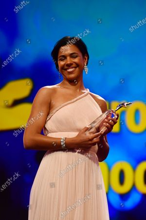 Zita Hanrot from France poses with an award during the European Shooting Stars 2020 presentation and the premiere of 'Schwesterlein' (My Little Sister) during the 70th annual Berlin International Film Festival (Berlinale), in Berlin, Germany, 24 February 2020. The movie is presented in the Official Competition at the Berlinale that runs from 20 February to 01 March 2020.