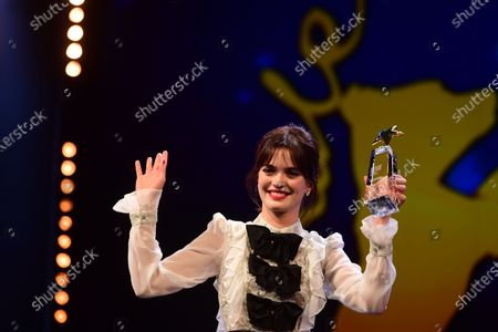 Joana Ribeiro from Portugal poses with an award during the European Shooting Stars 2020 presentation and the premiere of 'Schwesterlein' (My Little Sister) during the 70th annual Berlin International Film Festival (Berlinale), in Berlin, Germany, 24 February 2020. The movie is presented in the Official Competition at the Berlinale that runs from 20 February to 01 March 2020.