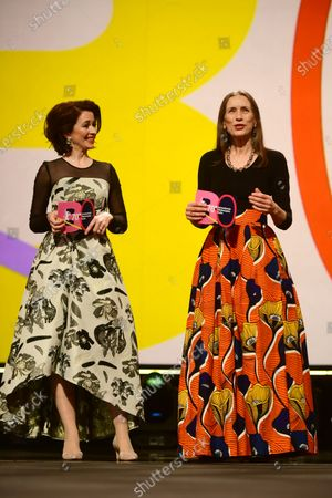 Stock Image of Host of the ceremony Loretta Stern (L) and Executive Director of the Berlinale Mariette Rissenbeek (R) attend the European Shooting Stars 2020 presentation and the premiere of 'Schwesterlein' (My Little Sister) during the 70th annual Berlin International Film Festival (Berlinale), in Berlin, Germany, 24 February 2020. The movie is presented in the Official Competition at the Berlinale that runs from 20 February to 01 March 2020.