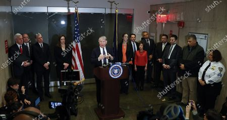 Manhattan District Attorney, Cyrus Vance Jr. (C) addresses members of the media after former Hollywood producer Harvey Weinstein was found guilty of a felony sex crime and rape, but acquitted of the most serious charges against him, predatory sexual assault, at New York State Supreme Court in New York, New York, USA, 24 February 2020.