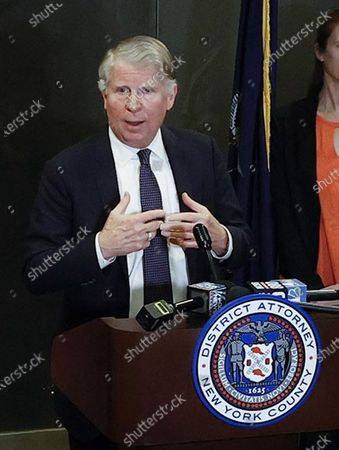 Stock Image of Manhattan District Attorney, Cyrus Vance Jr. (C) addresses members of the media after former Hollywood producer Harvey Weinstein was found guilty of a felony sex crime and rape, but acquitted of the most serious charges against him, predatory sexual assault, at New York State Supreme Court in New York, New York, USA, 24 February 2020.