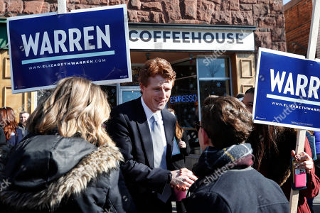Rep. Joseph P Kennedy III, D-Mass., greets supporters of Democratic presidential candidate Sen. Elizabeth Warren, D-Mass., in Cambridge, Mass., at a rally to kick off the first morning of early voting in Massachusetts