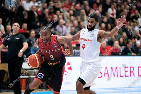 Belgium's Jonathan Tabu in action against Denmark's Adama Darboe (R) during the FIBA EuroBasket 2021 qualifiers match between Denmark and Belgium in Farum, Denmark, 24 February 2020.