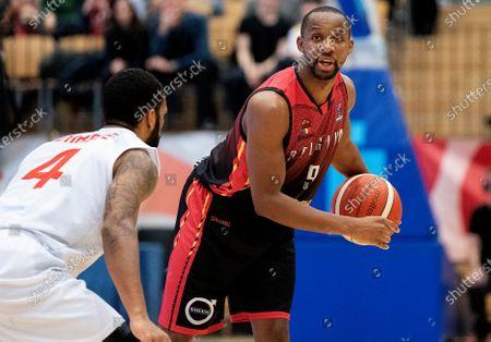 Belgium's Jonathan Tabu in action during the FIBA EuroBasket 2021 qualifiers match between Denmark and Belgium in Farum, Denmark, 24 February 2020.