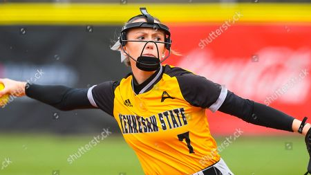 Kennesaw State player Kristen Davis plays against East Tennessee State during an NCAA college softball game, in Kennesaw, Ga