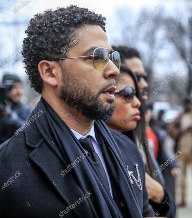 US actor Jussie Smollett leaves the Leighton Criminal Courthouse after pleading not guilty during his arraignment on felony charges of disorderly conduct in Chicago, Illinois, USA, 24 February 2020. Smollett is charged with allegedly filing a false police report over a hate crime attack where he says he was doused with bleach and a noose placed around his neck. Law enforcement officials are convinced he paid two people to attack him in order to further his acting career. A special prosecutor took the case to a grand jury which returned the indictment after original charges were dropped by the state's attorney.