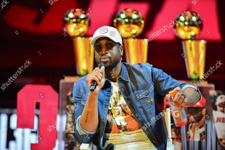 Stock Picture of Dwyane Wade discusses role in creating his documentary during An early access screening of Imagine Entertainment and ESPN Films' definitive Dwyane Wade documentary, which chronicles the star's life on and off the court with never-before-seen footage presented by Gatorade Zero at AmericanAirlines Arena