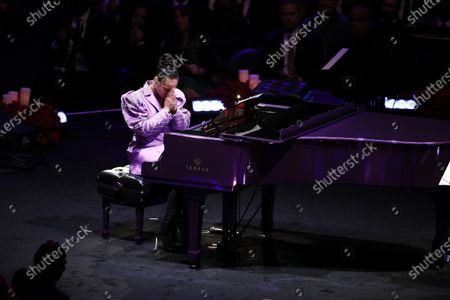 Alicia Keys, American musician, reacts after playing Beethoven's, 'Moonlight Sonata', one of Kobe and Vanessa Bryant's favorite pieces of music, (Kobe learned to paly for Vanessa) at to NBA Los Angeles Lakers Kobe Bryant and his daughter, Gianna's memorial service 'A Celebration of Life: Kobe and Gianna Bryant' at Staple Center in Los Angeles, California, USA, 24 February 2020. Bryant, his daughter Gianna 'Gigi' Bryant, Payton Chester, Sarah Chester, Alyssa Altobelli, Keri Altobelli, John Alobelli, Christina Mauser, and helicopter pilot, Ara Zobayan died in helicopter crash in a Calabassas hillside on 26 January.