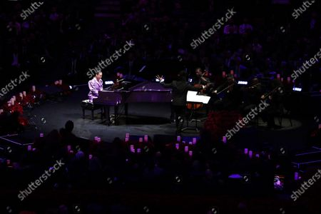 Alicia Keys, American musician, plays Beethoven's, 'Moonlight Sonata', one of Kobe and Vanessa Bryant's favorite pieces of music which Kobe learned to play for Vanessa, at to NBA Los Angeles Lakers Kobe Bryant and his daughter, Gianna's memorial service 'A Celebration of Life: Kobe and Gianna Bryant' at Staple Center in Los Angeles, California, USA, 24 February 2020. Bryant, his daughter Gianna 'Gigi' Bryant, Payton Chester, Sarah Chester, Alyssa Altobelli, Keri Altobelli, John Alobelli, Christina Mauser, and helicopter pilot, Ara Zobayan died in helicopter crash in a Calabassas hillside on 26 January.
