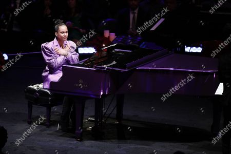 Alicia Keys, American musician, reacts after playing Beethoven's, 'Moonlight Sonata', one of Kobe and Vanessa Bryant's favorite pieces of music and which Kobe learned to play for Vanessa, at to NBA Los Angeles Lakers Kobe Bryant and his daughter, Gianna's memorial service 'A Celebration of Life: Kobe and Gianna Bryant' at Staple Center in Los Angeles, California, USA, 24 February 2020. Bryant, his daughter Gianna 'Gigi' Bryant, Payton Chester, Sarah Chester, Alyssa Altobelli, Keri Altobelli, John Alobelli, Christina Mauser, and helicopter pilot, Ara Zobayan died in helicopter crash in a Calabassas hillside on 26 January.
