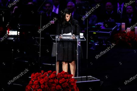 Vanessa Bryant, wife of Kobe Bryant speaks about her husband, Kobe and daughter, Gianna at NBA Los Angeles Lakers Kobe Bryant and his daughter, Gianna's memorial service 'A Celebration of Life: Kobe and Gianna Bryant' at Staple Center in Los Angeles, California, USA, 24 February 2020. Bryant, his daughter Gianna 'Gigi' Bryant, Payton Chester, Sarah Chester, Alyssa Altobelli, Keri Altobelli, John Alobelli, Christina Mauser, and helicopter pilot, Ara Zobayan died in helicopter crash in a Calabassas hillside on 26 January.