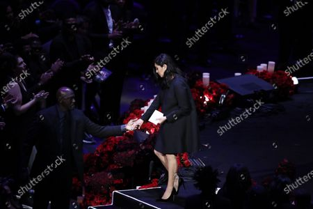 Vanessa Bryant, wife of Kobe Bryant walks off stage after talking about her husband, Kobe and daughter, Gianna at NBA Los Angeles Lakers Kobe Bryant and his daughter, Gianna's memorial service 'A Celebration of Life: Kobe and Gianna Bryant' at Staple Center in Los Angeles, California, USA, 24 February 2020. Bryant, his daughter Gianna 'Gigi' Bryant, Payton Chester, Sarah Chester, Alyssa Altobelli, Keri Altobelli, John Alobelli, Christina Mauser, and helicopter pilot, Ara Zobayan died in helicopter crash in a Calabassas hillside on 26 January.
