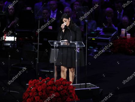 Vanessa Bryant, wife of Kobe Bryant, talks about her husband, Kobe and daughter, Gianna at NBA Los Angeles Lakers Kobe Bryant and his daughter, Gianna's memorial service 'A Celebration of Life: Kobe and Gianna Bryant' at Staple Center in Los Angeles, California, USA, 24 February 2020. Bryant, his daughter Gianna 'Gigi' Bryant, Payton Chester, Sarah Chester, Alyssa Altobelli, Keri Altobelli, John Alobelli, Christina Mauser, and helicopter pilot, Ara Zobayan died in helicopter crash in a Calabassas hillside on 26 January.
