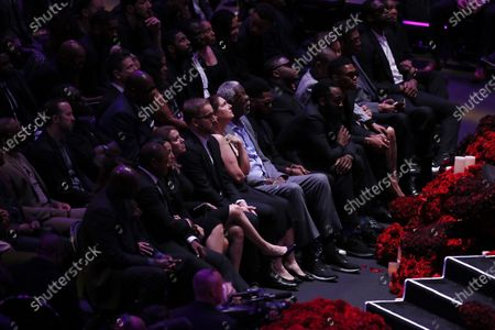 Stock Photo of Former NBA and Hall of Fame NBA player Bill Russell (C) and other NBA players, friends and family listen on during Los Angeles Lakers Kobe Bryant and his daughter, Gianna's memorial service 'A Celebration of Life: Kobe and Gianna Bryant' at Staple Center in Los Angeles, California, USA, 24 February 2020. Bryant, his daughter Gianna 'Gigi' Bryant, Payton Chester, Sarah Chester, Alyssa Altobelli, Keri Altobelli, John Alobelli, Christina Mauser, and helicopter pilot, Ara Zobayan died in helicopter crash in a Calabassas hillside on 26 January.