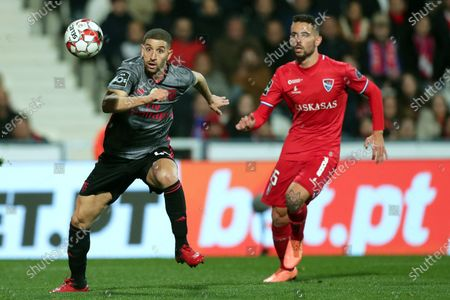 Gil Vicente's Henrique Gomes (R) in action against Benfica's Adel Taarabt (R) during the Portuguese First League soccer match between Gil Vicente and Benfica at Cidade Barcelos stadium, at Barcelos, Portugal, 24 February 2020.
