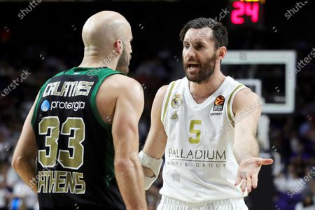 Real Madrid's Rudy Fernandez (R) reacts next to Panathinaikos' Nick Calathes (L) during a Euroleague basketball match between Real Madrid and Panathinaikos at Wizink Center in Madrid, Spain, 24 February 2020.