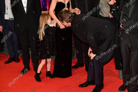 Willem Dafoe (C-R) jokes with Anna Ferrara (C-L) as they arrive for the premiere of 'Siberia' during the 70th annual Berlin International Film Festival (Berlinale), in Berlin, Germany, 24 February 2020. The movie is presented in the Official Competition at the Berlinale that runs from 20 February to 01 March 2020.