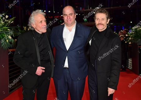 Abel Ferrara (L), Christos V. Konstantakopoulos (C) and Willem Dafoe (R) arrive for the premiere of 'Siberia' during the 70th annual Berlin International Film Festival (Berlinale), in Berlin, Germany, 24 February 2020. The movie is presented in the Official Competition at the Berlinale that runs from 20 February to 01 March 2020.