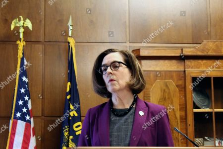 Gov. Kate Brown of Oregon denounces a walkout by Republicans in the state Senate that prevented a quorum on in Salem, Ore. Republican lawmakers are trying to doom a contentious climate change bill. Brown said the Republicans are not against the climate policy but are against the Democratic process
