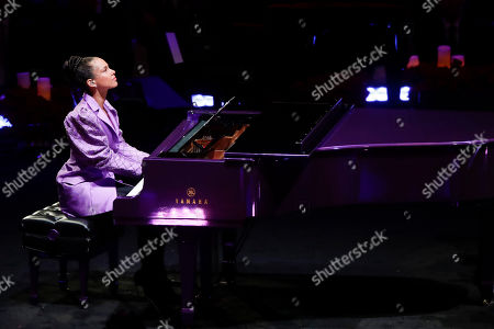 Alicia Keys performs during a celebration of life for Kobe Bryant and his daughter Gianna Monday, Feb. 24, 2020, in Los Angeles. (AP Photo/Marcio Jose Sanchez)